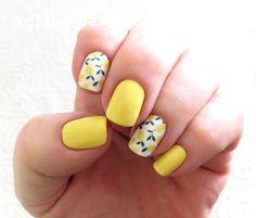 23 Great Yellow Nail Art Designs 2019 - Sunny Yellow Nails - Best Nail World Yellow Nails Design, Yellow Nail Art, Color Yellow, Blue Nail, White Nail, Purple Yellow, Lemon Nails, Nail Art Halloween, American Nails