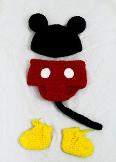 Mickey Mouse Baby Costume, Hat, Diaper Cover, Booties Crochet Disney Set