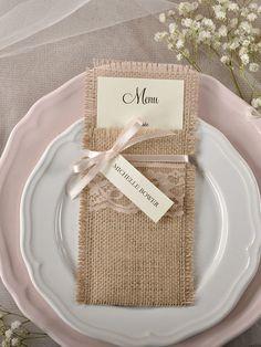 Rustic country burlap and lace wedding menu #countrywedding #rusticwedding