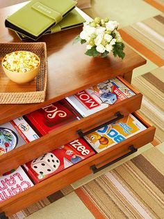 Think Thin      Avoid deep drawers in favor of shallow ones. Deep drawers can quickly turn into dumping grounds but shallow drawers are super efficient, making it a cinch to store -- and find! -- board games, kids' art supplies, or reading materials.