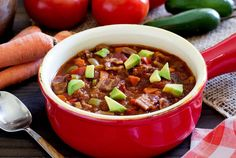 Easy paleo recipe for a slow-cooker/crockpot chili. Loaded with veggies, beef or turkey, and tons of amazing flavor. Popular recipe...lots of awesome reviews!