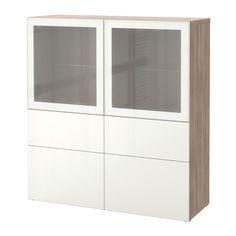 BESTÅ Storage combination w/glass doors - walnut effect light gray/Selsviken high-gloss/white frosted glass, drawer runner, push-open - IKEA