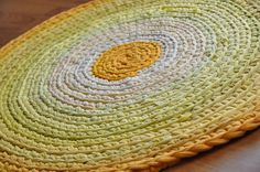 Good Morning Sun Rug  Crocheted with yarn hand-cut from t-shirts.