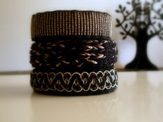 Knitted Bracelets KB 25 WINTER MOOD Set of 3 by Vladilenashandmade, $20.00