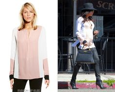 Naya Rivera stops by Real Food Daily, Los Angeles, April 9, 2015Vince Camuto Split-Neck Color Block Blouse - No longer availableWorn with: Hermès bag, Helmut Lang leggings, Gianvito Rossi boots