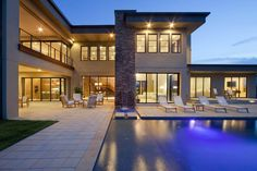 Modern home and pool.
