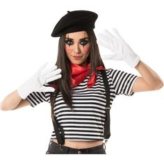The Mime Costume Accessory Kit for adults includes a black beret, white gloves, black suspenders, and a red bandana. Think outside the invisible box when putting together a Halloween costume with this accessory kit! Mime Halloween Costume, Halloween Circus, Halloween Costume Accessories, Halloween Costumes For Teens, Costumes For Women, Halloween Makeup, Mime Makeup, Halloween Halloween, Movie Character Halloween Costumes