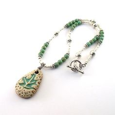 Turquoise Leaf Necklace Ceramic Czech Glass by CinLynnBoutique, $30.00