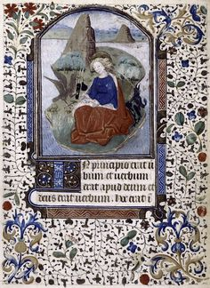 Miniature of John the Evangelist, 3-line blue initial, border design. Main hand (hand 1). - NYPL Digital Collections