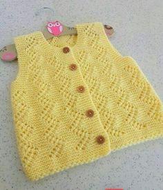 Knitting Baby Vest Yellow baby vest,knit baby girl vest, winter trends by likeknitti. Baby Girl Vest, Baby Girl Beanies, Baby Girls, Baby Knitting Patterns, Baby Patterns, Baby Blue Prom Dresses, Baby Dress, Long Dresses, Winter Trends