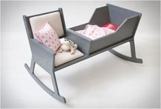 """the """"rockid""""...a rocking chair and cradle in one! and when the baby outgrows the cradle, you can reconstruct the rockid into a rocking chair. how clever is this?"""