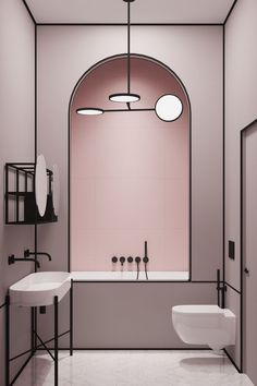 Modern pink bathroom in a Parisian apartment by architect Harry Nuriev from Crosby Studios. - sevde Hut - - Modern pink bathroom in a Parisian apartment by architect Harry Nuriev from Crosby Studios. Bad Inspiration, Bathroom Inspiration, Interior Inspiration, Furniture Inspiration, Interior Ideas, Fashion Inspiration, Simple Interior, Classic Interior, Interiores Art Deco