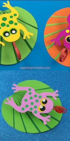 Frog on a lilypad paper craft for kids. Make a frog which bounces on it's paper lilypad on a paper spring. This is a fun craft for when studying lifecycles, and looks super cute. Easy enough for preschool age and up. for toddlers Frog on a lily pad craft Animal Crafts For Kids, Spring Crafts For Kids, Paper Crafts For Kids, Projects For Kids, Paper Crafting, Fun Crafts, Art For Kids, Easter Crafts, Garden Projects