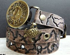 Leather wrist watch with turtle charm, Women's leather watch, Antique looking bracelet watch