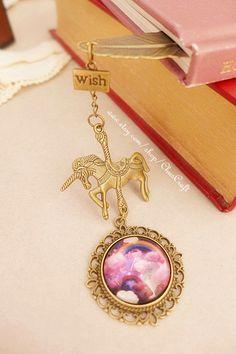 Carousel bookmark Merry go round Unicorn Charm Metal Bookmark Unique Star Bookmark Horse Bookmark Galaxy Bookmark Sky Rainbow Bookmark