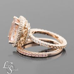 Rose Gold Morganite Wedding Set 3 carat by LaurieSarahDesigns