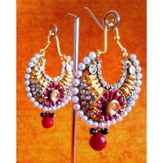 Red green flower pearl bali polki earring ha072