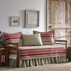 Daybed set inlcudes 3 shams, bedskirt and daybed cover. Features blanket stripes in neutrals and red. Set is 100-percent cotton, machine washable