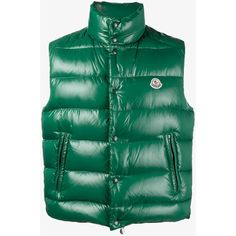 Moncler Puffer Patent Gilet (1,705 PEN) ❤ liked on Polyvore featuring men's fashion, men's clothing and moncler