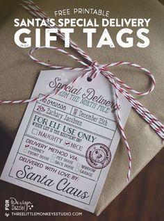 Free Santa's Special Delivery Gift Tags (Name kann selber in die Vorlage getippt werden!)