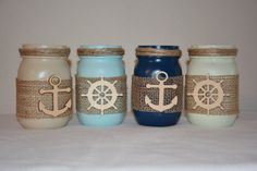 Nautical Painted Mason Jars Anchor Burlap Ship by TheSecretSparrow