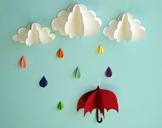 Birds and Clouds  3D Paper Wall Art/ Wall Decor/Wall Decals