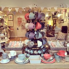 Nora's Ilkley, Retail Display, Visual Merchandising, tableware, crockery, summer.