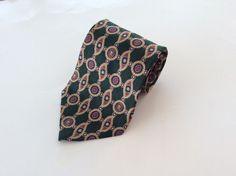 Tommy Hilfiger Neck Tie Green Red Yellow Geometric 100% Italian Silk #TommyHilfiger #NeckTie