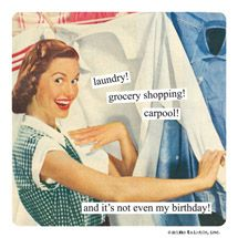 laundry! grocery shopping! carpool! and it's not even my birthday!
