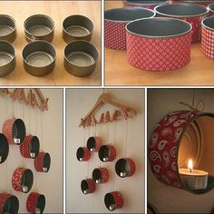 Latas portavelas / Cans as candleholders Diy And Crafts, Crafts For Kids, Arts And Crafts, Home Projects, Projects To Try, Deco Design, Wall Design, Diy Candles, Decorating Candles
