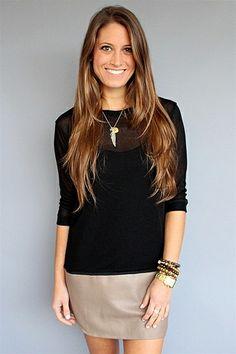 Tylie Malibu - Taupe Knit Leather Hem Tunic Dress