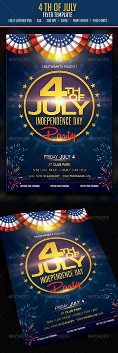 4th of July - Flyers Print Templates Get it here: http://graphicriver.net/item/4th-of-july/7987623?ref=BluWorks