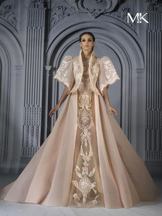 """""""✫ Padmé Amidala drafting a bill with Senator Skywalker Lars Marwan & Khaled, Spring 2017 """" What If… Anakin Skywalker hadn't been accepted by the Jedi order. While staying on Naboo while deciding what to do next, Anakin finds his answer while working. Couture Dresses, Bridal Dresses, Prom Dresses, Formal Dresses, Modern Filipiniana Dress, Filipino Fashion, Fantasy Gowns, Celebrity Dresses, Beautiful Gowns"""