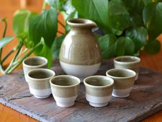 Olive Green Ceramic Sake Set Hand Thrown by CaldwellPottery
