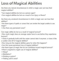 Loss of magical abilities writing ideas, fantasy writing prompts, writer prompts, writer tips Book Writing Tips, Creative Writing Prompts, Writing Words, Writing Resources, Writing Help, Writing Skills, Writing Ideas, Writing Inspiration Prompts, Magia Elemental