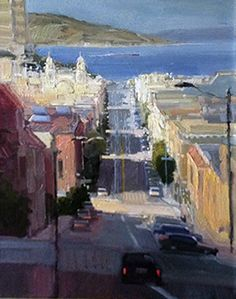 Hyde Street to Bay San Francisco, 2006 by Ken Auster, Original Painting, Oil on Canvas
