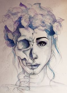 Watercolor, half skull half human face.