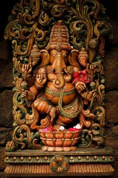 """Lord Ganesh, the Indian Conception: Very well done sculpture of Lord Ganesh. Would not be used in a temple for worship but in homes, perhaps. This representation respects the Divinity associated with Lord Ganesh. Ganesha Painting, Ganesha Art, Lord Ganesha, Lord Shiva, Jai Ganesh, Ganesh Statue, Shree Ganesh, Ganesha Pictures, Ganesh Images"