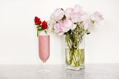 Valentine's Day Strawberry Banana Smoothie with Strawberry Roses