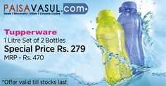 Paytm Offers: Tupperware 1 Litre set of 2 Bottles Price Rs.279.  http://www.paisavasul.com/code/paytm-offers-tupperware-1-litre-set-of-2-bottles-price-rs-279