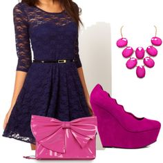 Image result for navy gown with magenta