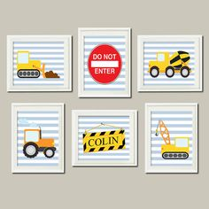 CONSTRUCTION Trucks Personalized Name Blue Lagoon Nursery Art Boy Bedroom Wall Decor Bulldozer Crane Wall Art Set of 6 Prints Playroom Decor