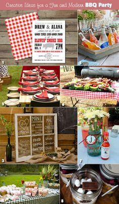 Ideas for a modern BBQ rehearsal dinner. What do ya think? I like it and since we are in charge of the rehearsal dinner. Rehearsal Dinner Fun, Rehearsal Dinner Decorations, Wedding Rehearsal, Rehearsal Dinners, Wedding Set Up, Wedding Menu, Wedding Ideas, Gown Wedding, Trendy Wedding