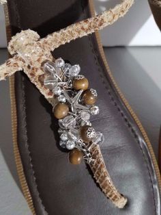 Sperry Top Sider Brown Reptile Skin Beaded Starfish Thong Sandals Size 9.5 M #SperryTopSider #AnkleStrap #Casual