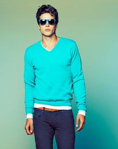 Awesome V-neck Sweater love the colors. Its hard to see but I love the color of the belt also!