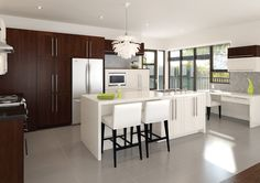 Instant Contemporary Kitchen in Brown and White with Royal Hartford Door