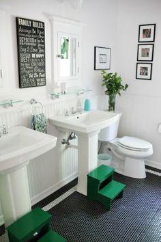 Black Floor Tile Offset Big Wall Tiles Bath Pinterest