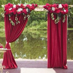 40 Outdoor Fall Wedding Arch and Altar Ideas – Amanda Laverty - Decoration Fall Wedding Arches, Wedding Arch Flowers, Wedding Entrance, Wedding Stage, Red Wedding, Autumn Wedding, Wedding Season, Flower Backdrop, Ceremony Backdrop
