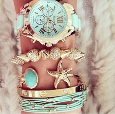 Bracelets and Watch - Gold and Turquoise