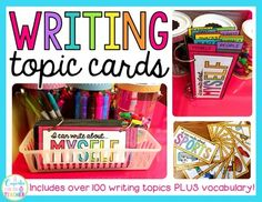 Inspire your students and cure writer's block with over 100 writing topic cards across 11 categories! Each topic card includes a mini word bank and a coordinating picture to keep those pencils moving! Organize your cards on binder rings for easy viewing and storage! {great for Daily 5's Writing Center}